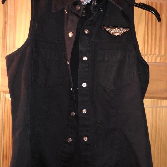 Ladies Harley Davidson Black Cotton Vest
